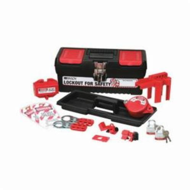 Brady 104796 Filled Portable Lockout Kit With Keyed-Alike Steel Padlocks, For Use With Electrical/Valve Lockout, Black