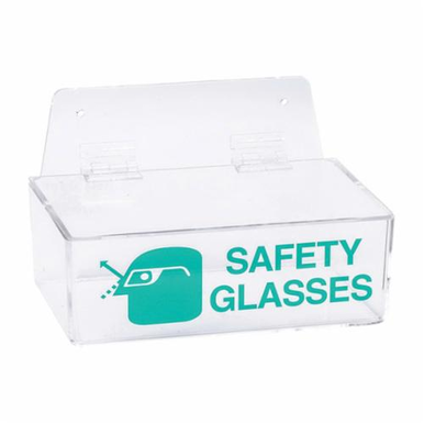 Brady 2011L Safety Glasses Holder Lid, 6 Pairs, 3 in H x 9 in W, Wall Mounting, Green on Clear