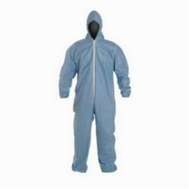 Dupont® TM127SBU2X002500 Disposable Flame Resistant Coverall With Standard Hood, 2XL, Blue, Tempro®, 44-1/4 - 47-3/4 in Chest, 30-1/2 in Inseam