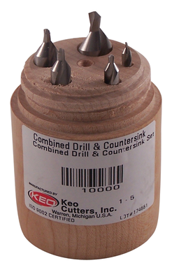 KEO 10000 Plain Standard Combined Drill and Countersink Set, #1 Min Trade Size, #5 Max Trade Size, 60 deg Included Angle, 5 Pieces, HSS, Uncoated