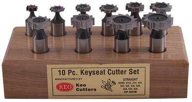 KEO 60100 Standard Woodruff Keyseat Cutter Set, Right Hand Cutting Direction, 3/8 to 1 in Dia Head, #403 to #808 Tool Bit, Straight Tooth