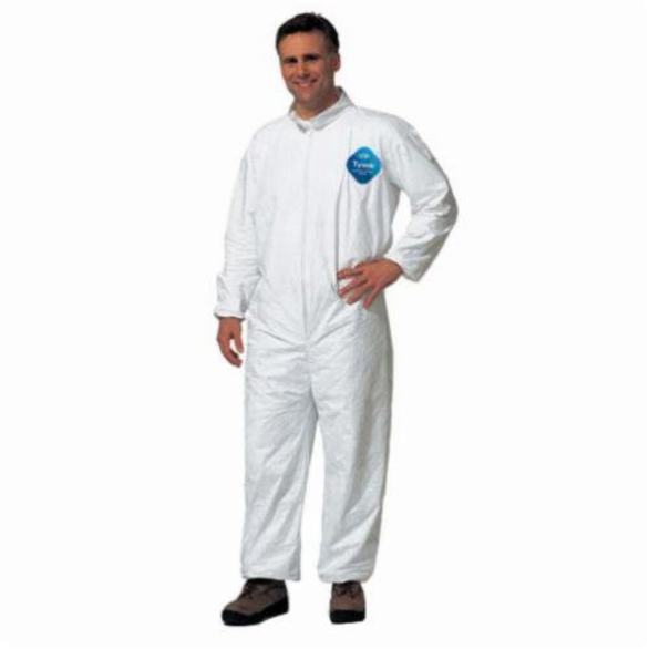 Lakeland® 01417-XL Disposable Coverall, XL, White, DuPont™ Tyvek®, 48 to 50 in Chest, 29 in Inseam