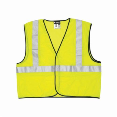 MCR Safety VCL2MLZL Luminator™ Economy Safety Vest, L, Hi-Viz Fluorescent Lime, Polyester Mesh, Zipper Closure, 3 Pockets, ANSI Class: Class 2, Specifications Met: ANSI/ISEA 107-2015 Type R