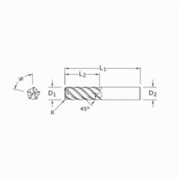 7//16 Cutting Diameter SGS 32632 55CR V-Carb High Performance 5 Flute End Mill Aluminum Titanium Nitride Coating 7//16 Shank Diameter 2-3//4 Length 1 Cutting Length